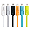 Кабель Lonsmax Flat 2 в 1 Micro USB plus Lightning длина 1м салатовый