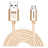 Кабель Lonsmax Fabric Braided Metal Micro USB 1м золото
