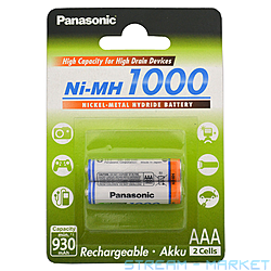 Аккумулятор Panasonic HIGH Capacity R03AAA 1000mAh 2 шт